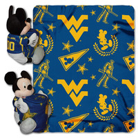 West Virginia Mountaineers NCAA Mickey Mouse with Throw Combo
