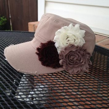 Women's tan Hat, cadet hat, Khaki womens hat, brown Flower Hat, distressed hat, Rhinestone Hat, Cadet Cap, baseball cap, military hat, gift
