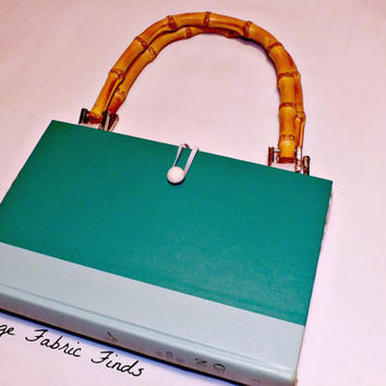Mint Green Cavalcade of the North Novel Altered  Book Purse Mint Green Recycled Novel