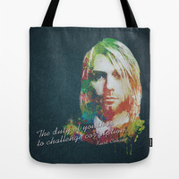 Colorful Kurt Donald Cobain (The duty of youth is to challenge corruption) Tote Bag by Nirvana.Design | Society6