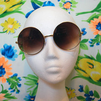 Janis Joplin Oversized Sunglasses Vintage Brown Hippie Circle Glasses