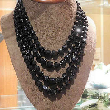 French Jet Black Glass Necklace Choker Mid Century 1950s Geometric Beads Beaded MOD Modern Quadruple Strand JAPAN Mourning Gothic Jewelry