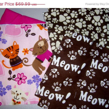 "Cat Flannel rag quilt kit Kitty Meow paw prints fringed die cut fabric squares and batting ready to sew 45.5""x58.5"