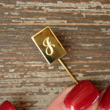 Vintage J Stick Pin, Initial Pin, Letter Pin, Monogram Pin, Gold Tone Hat Pin, Boutonnière Lapel Pin, Letter Pin, Brooch, Estate Jewelry