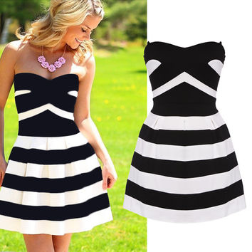Casual Striped Bandage Dress