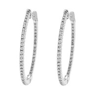 1ct tw Diamond Hoop Earrings in 14K White Gold - Fashion - Diamond Earrings - Jewelry & Gifts