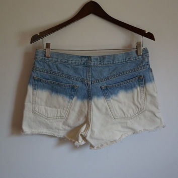 High Waisted Shorts, High Waist Shorts, Denim Shorts, Jean Shorts, Vintage Denim Shorts, Dip Dye Shorts, Bleach Shorts, Mom Shorts, Size 8