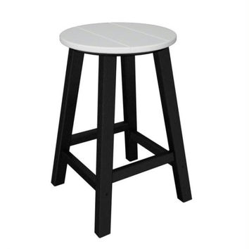 2 Bar Stools - White Seat And Black Legs
