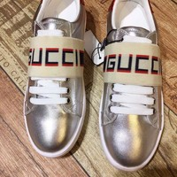 GUCCI Ace silver leather sneaker with Gucci stripe