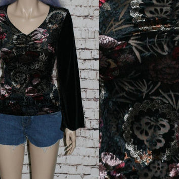 90s Blouse Burnout Crushed Velvet Bell Sleeves Black Crop Cropped Grunge Hipster Pastel Goth Gothic Gypsy Boho Festival Witchy