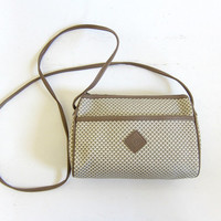 Vintage Small Cross Body Purse. Preppy Taupe + White Shoulder Bag.