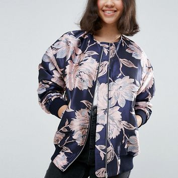 ASOS Premium Bomber Jacket in Jacquard at asos.com