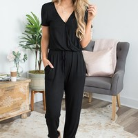 Short Sleeve Surplice Jumpsuit - Black