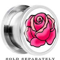 Tattoo Inspired Steel Pink Blooming Rose Screw Fit Plug | Body Candy Body Jewelry