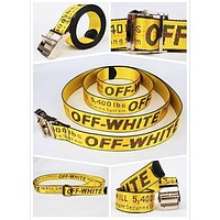 OFF WHITE Fashion New More Letter Women Men Word Personality Belt Yellow
