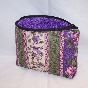 Makeup bag, zipper pouch, cosmetic bag, small bag with zipper quilted fabric, paisley, cancer ribbon, butterfly