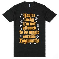 Outside Hogwarts-Unisex Athletic Black T-Shirt