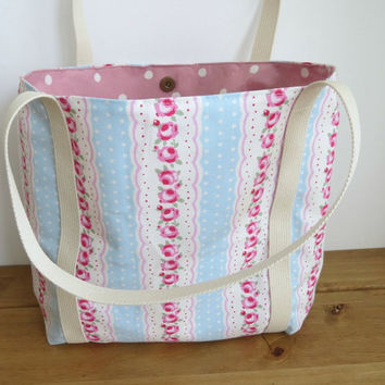 Floral Knitting Tote, Fabric Tote Bag, Holiday Beach Bag, Craft Carryall, Mothers Day Present, Gift For Mum, Weekend Purse