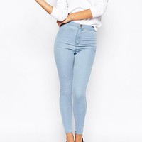 ASOS | ASOS Rivington Jeggings In Paloma Pale Blue Wash at ASOS