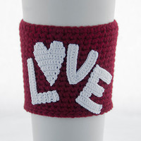Love is in the air coffee cozy, cup sleeve, I love you, red claret marsala sleeve, white crocheted letters and heart, Valentine's day gift