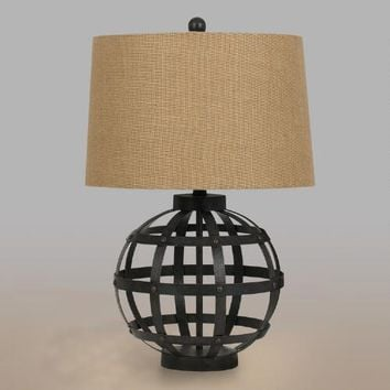 Iron Globe Julian Table Lamp and Shade Set