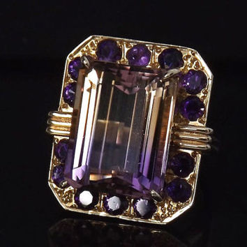 Sale /Gorgeous Rare Ametrine and Amethyst 10 Carat 14K Ring