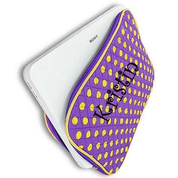 Monogrammed Laptop Sleeve  Purple and Yellow Polka Dot Personalized Laptop Case  Embroidery Monogram Laptop Bag