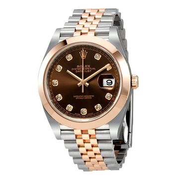 Rolex Datejust 41 Chocolate Brown Dial Steel and 18K Rose Gold Mens Watch