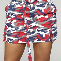 Destiny Camo Skirt - Red