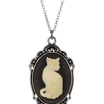 Feline Friend Framed Cat Cameo Pendant Necklace