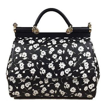Dolce & Gabbana Miss Sicily Black White Floral Daisy Dauphine Leather Medium Bag Handbag Purse Tote