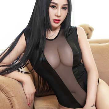 2016 Sheer Mesh Lingerie Sexy Women Erotic Transparent Leather Gauze Patchwork Thong Teddy Bodysuit Sexy Swimsuit