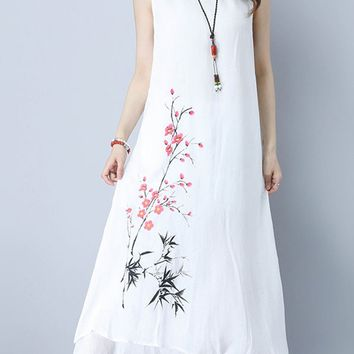Casual Round Neck Drawstring Chinoiserie Printed Maxi Dress