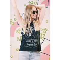 Johnny Cash Ring of Fire Muscle Tank, Vintage Black | Daydreamer