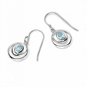 Sterling Silver Wrap-Around Double Loop with Sky Blue Topaz Earring