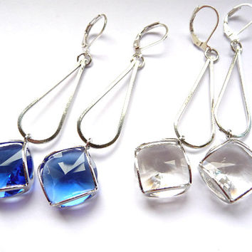 Crystal Earrings, Cobalt Blue, Blue Earrings, Cobalt earrings, cobalt silver, Silver blue, silver clear,  Clear earrings, clear crystal,