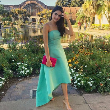 High Low Strapless Green Prom Dresses