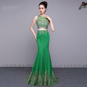 Two Piece Green Dresses Long Party Dresses Women Formal Evening Gowns