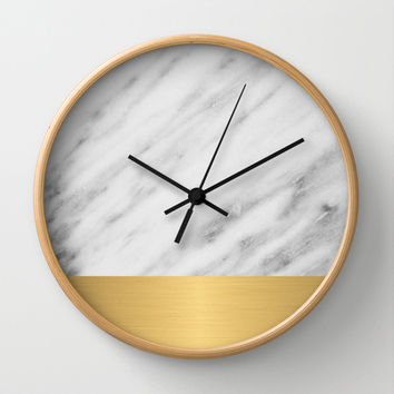 Carrara Italian Marble Holiday Gold Edition Wall Clock by cafelab