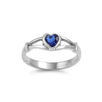 Sterling Silver Blue Sapphire CZ Heart Ring Size 1-5
