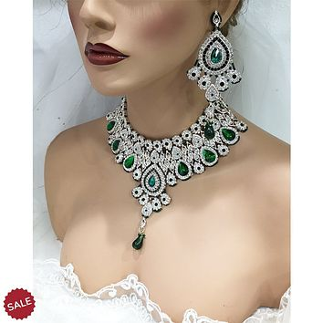 Emerald Green Crystal Indian Bridal Jewelry Set
