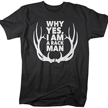Shirts By Sarah Men's Funny Rack Man T-Shirt Hunting Tee Hunter