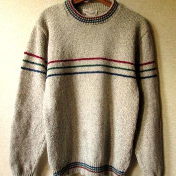 mens crewneck sweater - vintage ragg wool sweater - rustic woodsy pullover