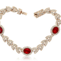 Swarovski Element Red Crystal  Love Waltz Bracelet