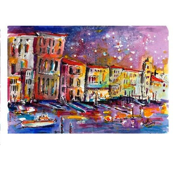 Venice Reflections Grand Canal Italy Travel Europe Watercolor ORIGINAL Painting by Ginette
