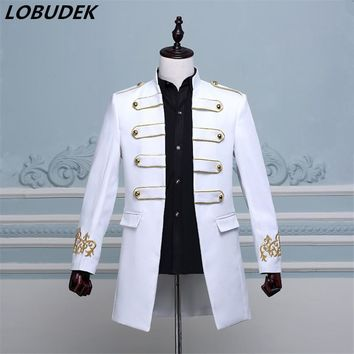 Cool 2017 fashion men costume long jacket blazer Male groom prom clothes singer dancer star performance nightclub bar wedding partyAT_93_12