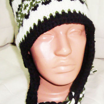 Hand Knit Hat - Black Mens Hat Earflap Men's Beanie - Knitted Man's Hat Sale