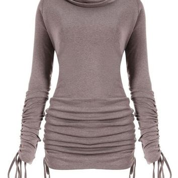 Amira Ruched Turtleneck Long Sleeve Shirt