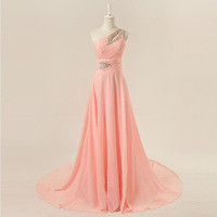 One-shoulder floor-length chiffon beading appliques long prom dress