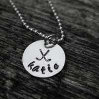 Field Hockey Personalized Necklace Sterling Silver Hand Stamped